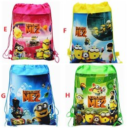 Wholesale Despicable Backpack School - New Frozen drawstring bags Anna Elsa Despicable Me backpacks handbags children's school bags kids' shopping bags present