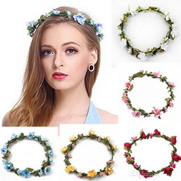 Wholesale Hair Headpiece Wholesale - Bohemian Terylene Flower Headband Garland Crown Festival Wedding Bride Bridesmaid Hair Wreath BOHO Floral Headdress Headpiece