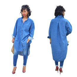 Wholesale Ladies Long Denim Dress - Womens leisure Midi Shirt Dress Long Sleeve lapel neck lady brand spring Denim Jeans Casual Loose work office formal Dress