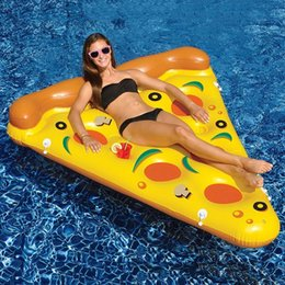Wholesale Inflatable Beach Mat - Inflatable Pizza Giant Pool Float Mattress 180CM Bed Sunbathe Beach Mat Swimming Ring Circle Water Party Toys