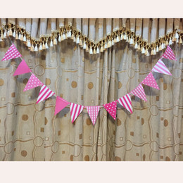 Wholesale Handmade Birthday Decorations - Wholesale-Blue Pink Happy Birthday Handmade Paper Flags Bunting Banner for Kids Birthday Party Baby Shower Decoration Supplies