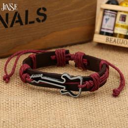 Wholesale Cheap Ornament Sets - Wholesale- JINSE DF021 bracelet men cheap adjustable fashion jewelry ornament bracelets bangles guitar music bangle color send random