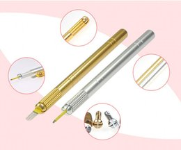 Wholesale Lip Tattoos Cheap - Cheap high quality professional tattoo Aluminum Alloy hand embroidered eyebrow tattooing pen knife tattoo equipment beauty tools
