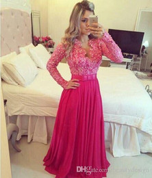 Wholesale White Tux Prom - evening Bedi Festa lace long sleeved V collar tux sequins beads blue coral Fuchsia women Party Prom Dresses for special occasions