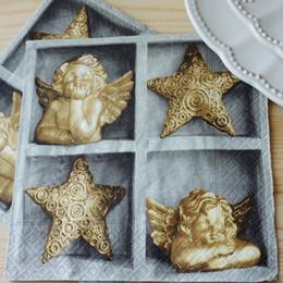 Wholesale Decoupage Napkins Vintage - Wholesale- 2 x Decoupage Paper Napkins Serviettes-33*33 cm 3-ply vintage grey napkin angel paper napkins for decoupage Set for Xmas-60552