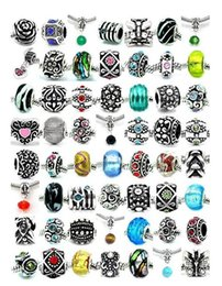 Wholesale Wholesale Religious Jewelry Cross - Mix 925 Silver Plated Europe Big Hole Loose Beads charm For Pandora DIY Jewelry Bracelet For Bracelets