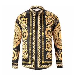 Wholesale Printed Sweater Retro - Free Shipping 2017 Autumn winter Harajuku Medusa gold chain Dog Rose print shirts Fashion Retro floral sweater Men long sleeve tops shirts