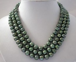 """Wholesale Green Round Freshwater Pearls - """"Handmade"""" Details about stunning 3rows 9-10mm round green freshwater cultured pearl necklace"""