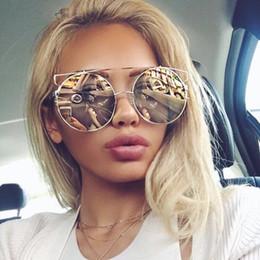 Wholesale Round Cateye Sunglasses - New Cat Eye Sunglasses Women Brand Designer Fashion men Rose Gold Mirror round Cateye Sun Glasses Female UV400 free shipping