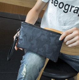 Wholesale Envelope Printed - factory sales bag printing men hand bag camouflage personality fashion envelope NYLON WALLET business casual men Large Wallet