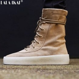 Wholesale E Solids - Wholesale-Kanye West Boots Season Chelsea Boots Top Quality Genuine Leather Crepe Rubber Winter Snow Boot Men Women Casual Botas XMG0183-5