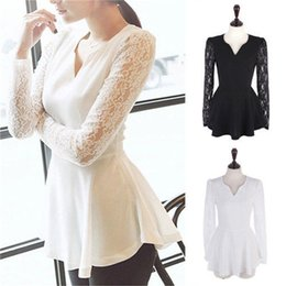 Wholesale Long Sleeved Peplum Top - Wholesale- 2015 New Hot Style White Fashion Women's Flared Peplum Sexy long Sleeved Chiffon Shirts Lace Tops