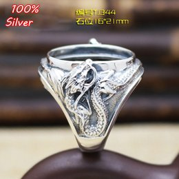 Wholesale Dragon Tray - 100% 925 Sterling-Silver-Jewelry Adjustable Oavl Ring Blank Fit 16*21MM Dragon Setting Gemstone Tray Antique Silver Plate