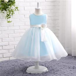 Wholesale Tea Lace Girl - Light Sky Blue Flower Girl Dresses For Weddings Princess Appliqued Bow Kids Birthday Dress New Arrival