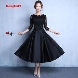Wholesale Sheer Ankle Length Robe - 2017 New Fashion Black Color Plus Size Robe De Roiree Elegant Party Short Evening Dress