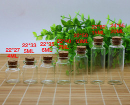 Wholesale Drifting Bottle - Wholesale Price 3ML 4ML 5ML 6ML 7ML 10ML 15ML 20ML  Clear Glass Drifting Bottles with wooden Cork Free Shipping