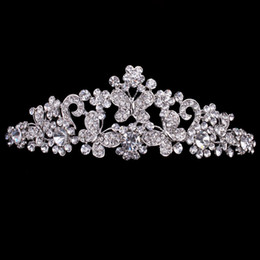 Wholesale Cheap Hair Accessories Free Shipping - Cheap but High Quality Silver Rhinestone Butterfly Pageant Tiara Crown Bridal Hair Accessories Party Princess Queen Headpieces Free Shipping