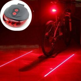 Wholesale Bycicle Lights - Wholesale- 5LED and 2Laser Cycling Safety Bicycle Rear Waterproof Warning Lamp Accessories Laser Tail Light Flashing Bycicle
