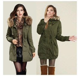 Wholesale Womens Fur Winter Hats - Womens Faux Fur Coats Lined Parka Outdoor Winter Hooded Long Jacket Black Army Green Collar Thick Padded Long Parka Coat Outerwear Jacket