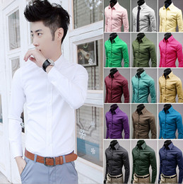 Wholesale Green Chemises - Cotton Men Shirt 17 Color New Arrival Camisa Masculina Solid Color Designer Oversize Men's Shirts Muscle Slim Fit Shirts Chemise Homme M-5XL