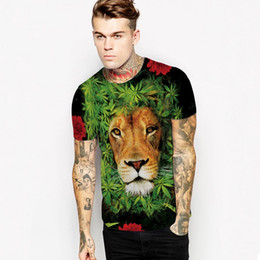 Wholesale Fashion Followers - Men T Shirt 2017 Fashion new Mens street European and American style 3D Red follower green leaf lion printed slim T-shirt