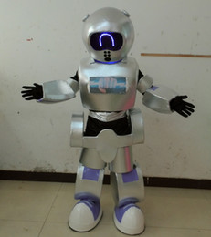 Wholesale Led Robot Costumes - SX0727 LED light eyes robot mascot costume for adult to wear for sale