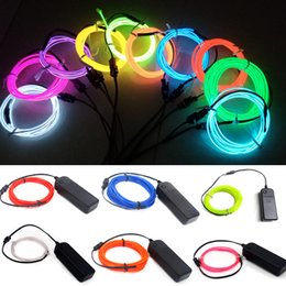 Wholesale Power Performance Cars - Car decoration 3V EL strip flashing light neon party EL glow wire flexible rope tube Led performance cloth AA battery powered + controller