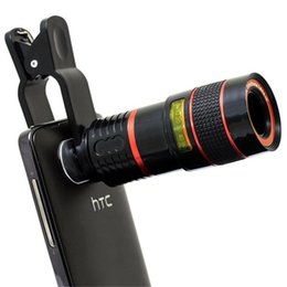 Wholesale External Lens - Universal Clip 8X Zoom Mobile Phone Telescope Lens Telephoto External Smartphone Camera Lens for Smartphone PC Laptop
