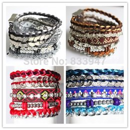 Wholesale Brazilian Gold Jewelry - Wholesale- Free Shipping New Multilayer Woven Bracelet With Magnetic Fashion Cuff Brazilian Bracelets For Women Party Jewelry HY0002