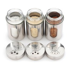 Wholesale Powdered Pepper - Stainless steel seasoning cans   kitchen seasoning box   barbecue seasoning bottle , pepper sauce pot ,powder sprinkling tank