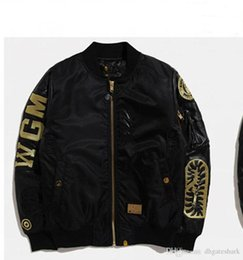 Wholesale Natural Cotton Thread - New Men's Black Shark Mouth Gold Thread Embroidery Thickening Cotton Clothing Jacket MA1 Air Force Jacket Men's Casual Cardigan Ja