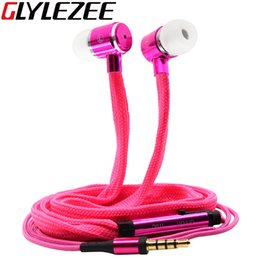 Wholesale Cell Phone Earpiece Ear Hooks - Glylezee Shoelaces Ear Hook Stereo Metal Bass Head Earphone Headset Music Earpieces with Mic Remote Control for Cellphone