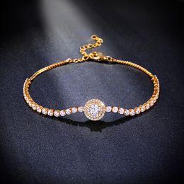 Wholesale Pave Diamond Bracelet Wholesale - Wholesale- New CZ Diamond Bracelet Charms Pave Cubic Zirconia Gold Chain Bracelets for Women Gifts Fashion Jewelry Bijouterie brtk40