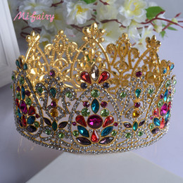 Wholesale Stunning Wedding Hair Accessories - Vintage Baroque Bridal Tiaras Accessories Gold Silver Colorful Crystals Princess Headwear Stunning Wedding Tiaras And Crowns 17.5*9.2cm H22