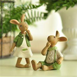 Wholesale Rabbit Ornaments - Miz Home 1 Piece Green Ornament Hand Rabbit Bunny Resin Figurine Gift For Friend Home Decor Micro Landscape Fairy Garden