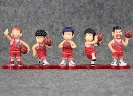 Wholesale Wholesale Kids Collectables - Hot sale 7-7.5cm SLAM DUNK Shohoku Rukawa Kaede 5pcs set PVC Action Figure Collectable Model Toy for kids gift free shipping retail