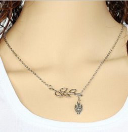 Wholesale Necklace Leaf Vintage Owls - Vintage Double Layer Pendant Necklace Silver Women Owl And Leaf Design Chain Necklace Lobster Clasp Choker for Women Summer Jewelry for Xmas