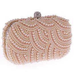 Wholesale Satin Wedding Purses Rhinestones - Free Shipping Women's Pearl Boll Evening Bag Round Ball Pearl Beaded Clutch Purse Mini Handbags Full Pearl Wedding Party Bags CPA810