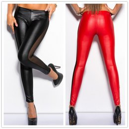Wholesale Leather Back Leggings - TB2419 Original design sexy leggings back red fashion ankle-length faux leather leggings 2016 brand new fitness women leggings