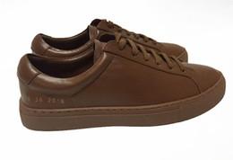 Wholesale Scarpe Uomo - Italy Original Brand Common Projects Handmade Full Genuine Leather Sheepskin Women Men Casual Shoes Donna Uomo Scarpe All Brown 2017 New