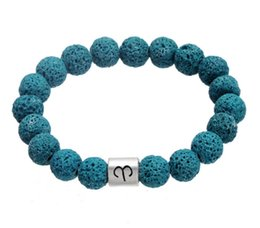 Wholesale Zodiac Sign Charms Wholesale - New Creative 12 Zodiac Signs Bracelets Diffuser Anti-fatigue Lava Natural Stone Charm Bracelet Volcanic Rock Bead Bracelet Fine Jewelry A257