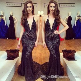 Wholesale Fitted One Shoulder Sexy Dress - 2017 Sexy Sequins Plunging V-neck Backless Prom Dresses Blingbling Sparkly Cheap Fitted 2K17 Sweep Train Evening Gowns Sleeveless