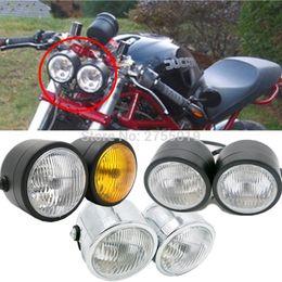Wholesale Headlight Motorcycle Universal Street Fighter - New Motorcycle Retro Twin Headlight Motorcycle Dual Lamp Street Fighter Naked Dominator For Harley Honda Suzuki Kawasaki