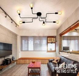 Wholesale Mounting Rods - 4 6 8 Heads Multiple Rod Wrought Iron Ceiling Light Retro Industrial Loft Nordic Dome Lamp for Home Decor Dinning Cafe Bar