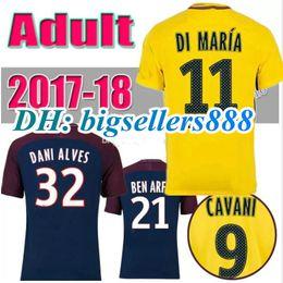 Wholesale Dry Suit Top - top 17 18 DANI ALVES VERRATTI Soccer suit NEYMAR JR CAVANI MBAPPE LUCAS KUZRZWA DI MARIA MATUIDI T SIVA DRAXLER 2017 2018 Soccer Jersey