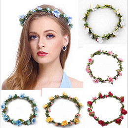 Wholesale Wholesale Fashion Headbands For Women - Bohemian Hair Crowns Flower Headbands Women Artificial Floral Hairbands Fashion Headwear for Girls Hair Accessories Beach Wedding Garlands