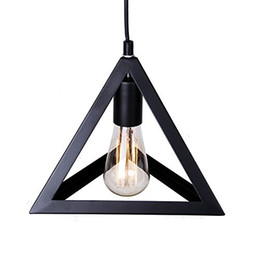 Wholesale Triangle Pendant Lighting - Vintage Pandent Industrial Metal Ceiling Light Triangle Cage Shade Chandelier Lamp Fixtures Black Northern Europe Decoration Free Shipping