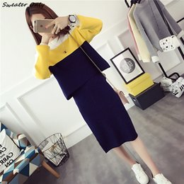 Wholesale Long Knit Skirts - Wholesale-2016 new autumn winter women long-sleeved sweater skirt woman two pieces hip skirts loose sweaters woman knit clothing set