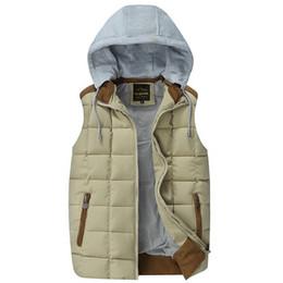Wholesale Hit Hat - Wholesale- New winter plus velvet vest detachable Hoodies casual cotton lapel hit color zipper outwear Waistcoat Warm Sleeveless Coat Z2485