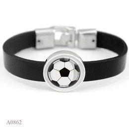 Wholesale Soccer Antiques - (10 PCS lot) Antique Silver Cabochon Soccer Football Baseball Softball Charm Leather Bracelets For Men Wome Vintage Casual Wristband Jewelry